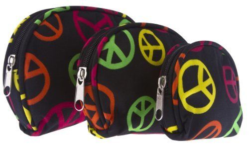 Set of Three Multicolored Peace Sign Cosmetic Makeup Bags Private Label. $14.62