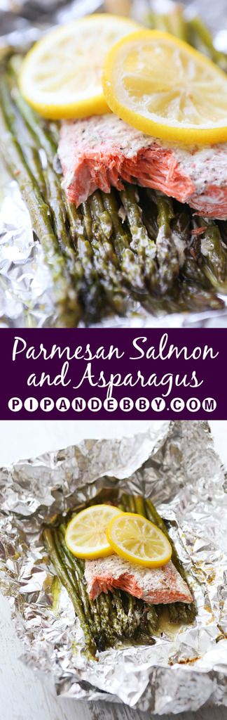 Parmesan Salmon and Asparagus in Foil | Dinner does NOT get easier or more delicious and healthy than this. Cook on grill or in the oven! Done in 20 minutes!