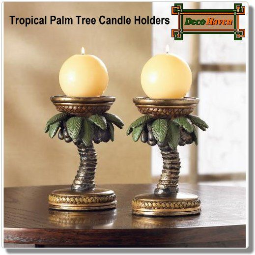 Tropical Palm Tree Candle Holders - Tropical themed candle holders in palm tree design and classic gilded styling.
