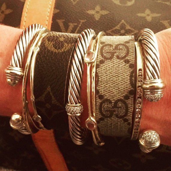 0a44140d0 Upcycled Louis Vuitton or Gucci monogram canvas narrow cuffs ...