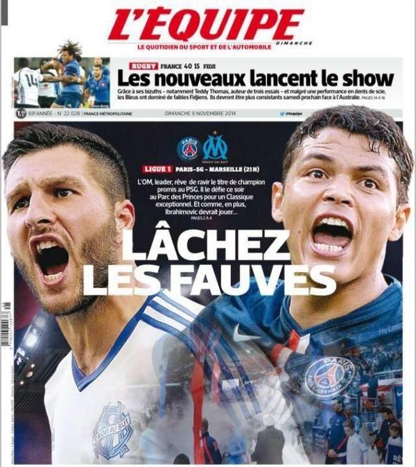 La Une de L'Equipe avant PSG-OM - http://www.actusports.fr/123785/lequipe-psg-om/