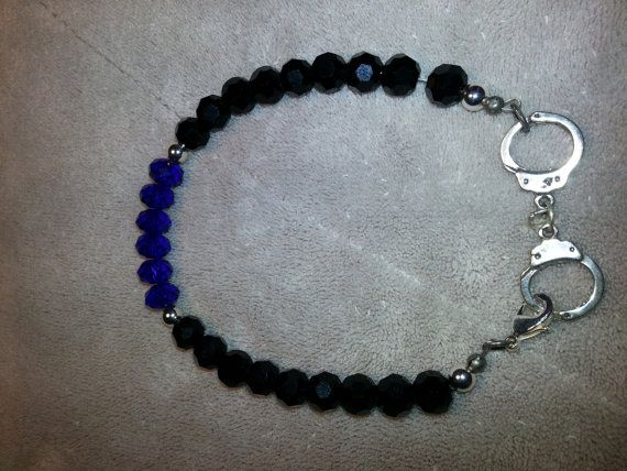 Thin Blue Line Bracelet on Etsy, $10.00