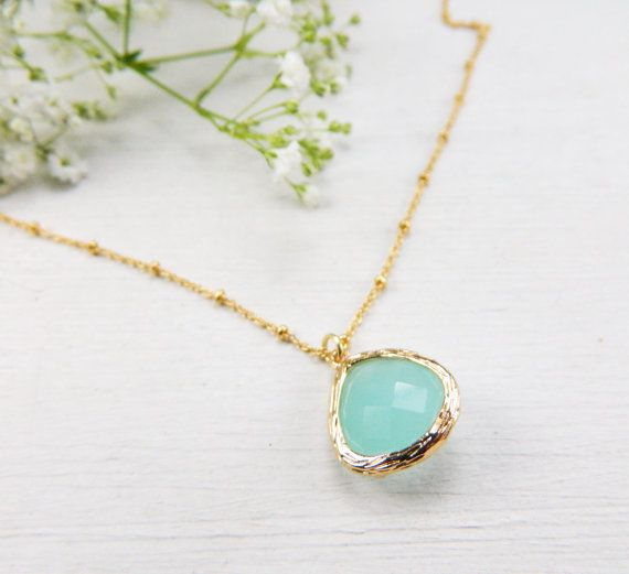 Mint color gemstone charm necklace with 14K by BarakaCustomJewelry