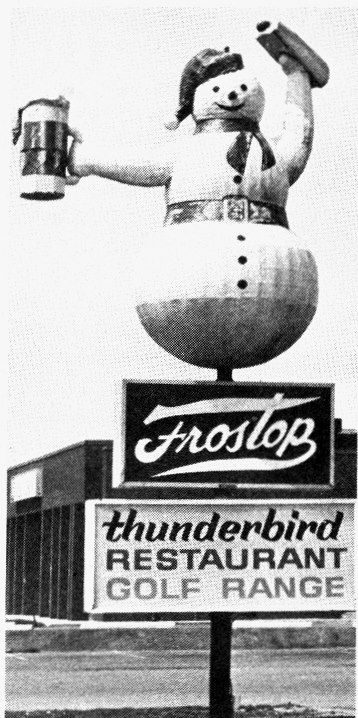 Frostop Drive-in restaurant, located on Hespeler Road in Cambridge. Frostop closed in 1969 and was converted into an A&W drive-in. Note the Royal Bank building in the background.