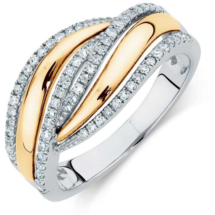 Ring with 0.30 Carat TW of Diamonds in 10ct Yellow Gold & Sterling Silver