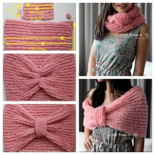 Wonderful DIY Knitted Cowl Scarf with Free Pattern