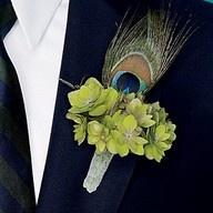 Wedding Boutonnieres, peacock theme