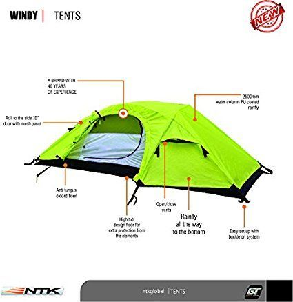 NTK Windy 1 Man Dome Bivy Lightweight Tent, 8 x 5 FT Outdoor Dome Backpacking Recon Tent 100% Waterproof 2500 mm, Super Compact, Durable Fabric Full Coverage Rain-fly - Micro Mosquito Mesh