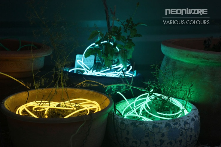 You can easily intertwine various colours of NeonWire in and around your garden or simply place short lengths inside your pot plants.