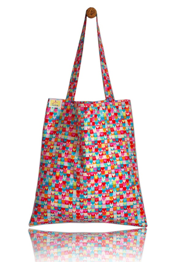 Retro Hearts Lined Tote Bag - Handmade in London via Etsy