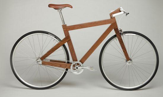 The wooden fixed gear bike from Lagomorph design features titanium hardware