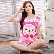 Nuovo simpatico cartone animato manica corta seta del latte sottile stile pajamas women pajama set sleepwear pigiami formato libero(China (Mainland))