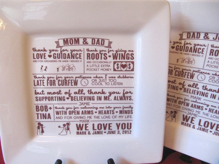Thank You Gifts For Parents At Wedding: Parent Wedding Gift--Thank You Platter From Bride And