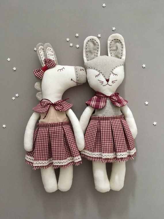 Bunny Is 35cm Tall Made From 100 Cotton Hand Embroidered Face Filled With Polyfible Fill Removable Linen Cotto Dolls Handmade Fabric Dolls Sewing Dolls