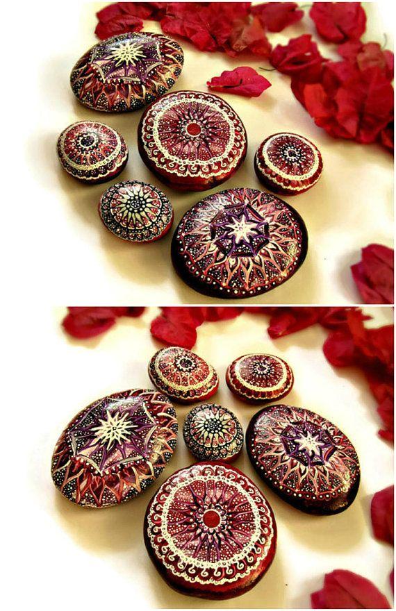 Mandala stones etsy pointillism bohemian dot art painted
