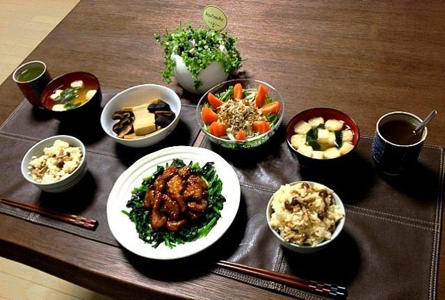 菊芋は血糖値低下に良いそうです。只今、菊芋粉末を何に入れたら摂取しやすいか模索中。(。-_-。) - 24件のもぐもぐ - ヒレ肉の照焼ほうれん草添え、きのこご飯、高野豆腐の椎茸煮、じゃこと大根のサラダ、ふのお味噌汁、菊芋茶 by pentarou
