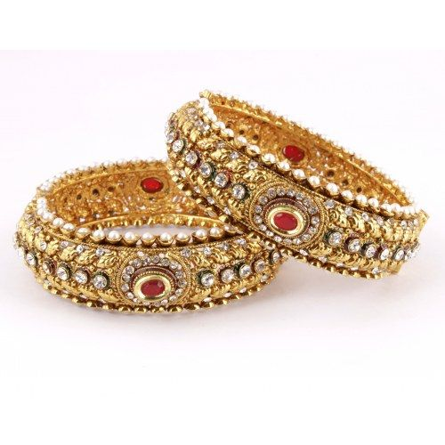 Gold Plated 2 Pc Bangle Set Encrusted With Kundans 12