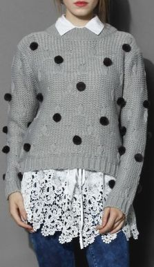 Pompon Chunky Knit Sweater in Grey