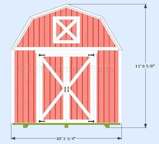 10x12 gambrel shed front view garden shed pinterest for Tiny house floor plans 10x12