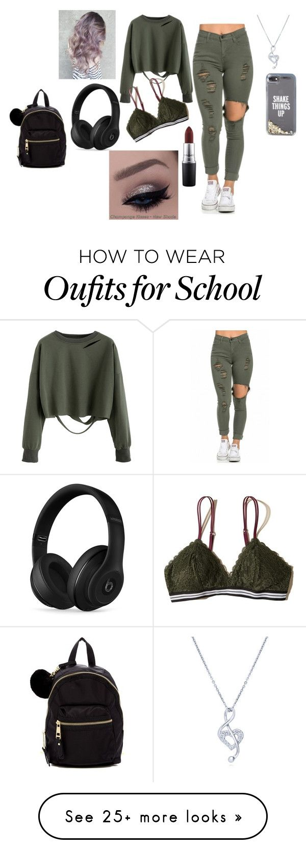 """""""Simple outfit for school"""" by alondra-lemus909 on Polyvore featuring Hollister Co., Beats by Dr. Dre, Madden Girl, BERRICLE, Kate Spade and MAC Cosmetics"""