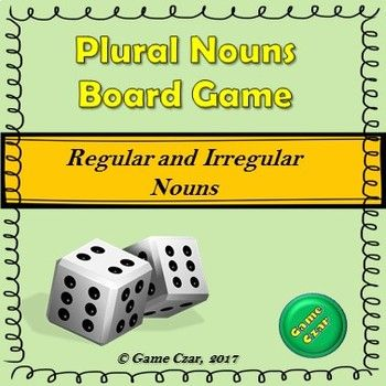 This Plural Nouns Board Game Bundle allows students to practice regular and irregular nouns in the plural form. The pack contains 2 board games + 40 noun cards that can be used beyond this game1st game- The students roll the dice, move their game pieces and write down the plural form of a noun.