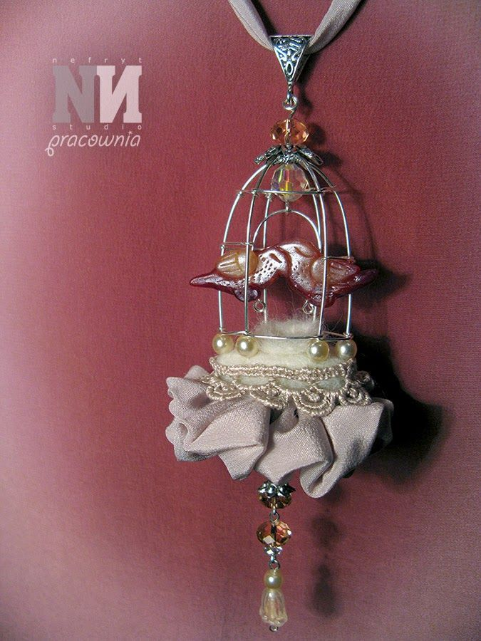 Nefryt Studio - Pracownia: necklace - birds in open cage (just married ;) - mixed media