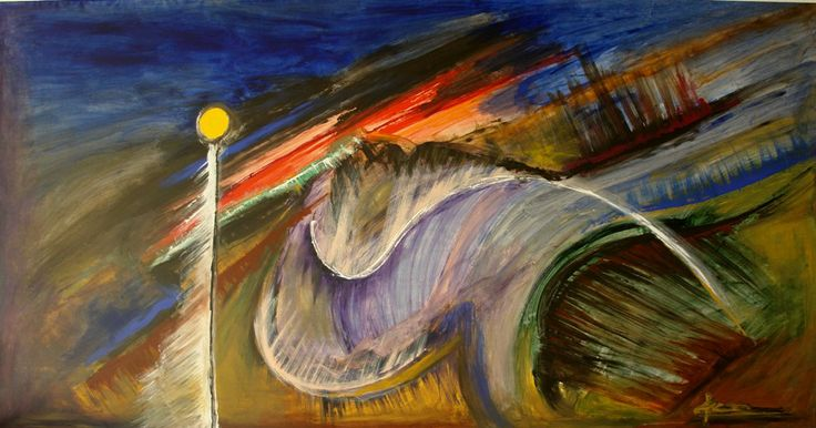 """Looking to the future"" (1990) - Painting by Petros Devolis - Composition with acrylic colors on #canvas - This artwork was painted on the floor of the small studio he was living that period. Size 288 x 158 cm (113.38 x 62.20 in)"