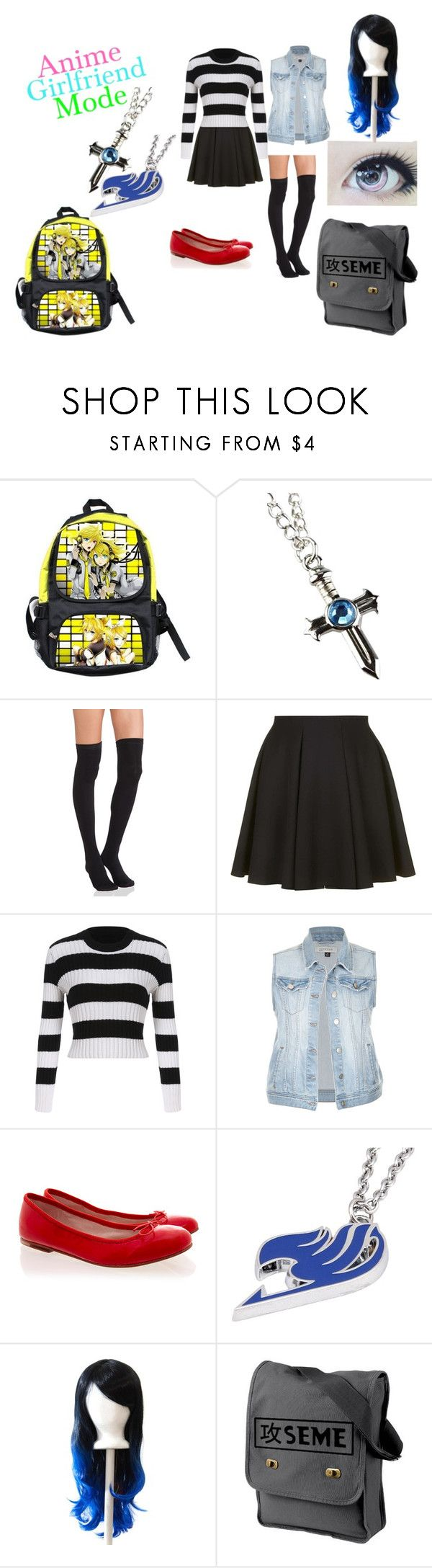 """""""Anime girlfriend"""" by the-princes-kitty ❤ liked on Polyvore featuring Plush, Topshop and Bloch"""