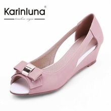 Big size 34-43 Classi Design Cut Outs Little Bow tie Med Heel Wedges Summer Shoes Women Peep Toe Less Platform casual Sandals(China (Mainland))