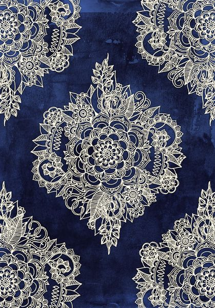 """Cream Floral Moroccan Pattern on Deep Indigo Ink"" - art by Micklyn, via society6"
