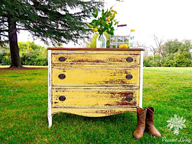 Chippy milk painted yellow dresser