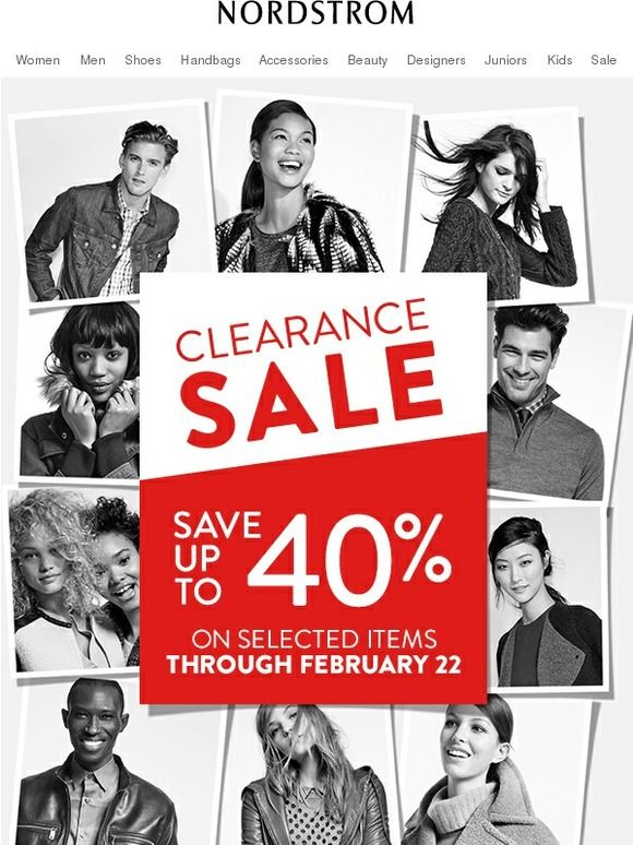 Nordstrom Clearance Sale: Save up to 40%! Email Newsletter Design