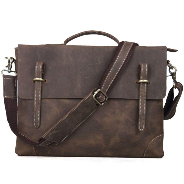TOP-BAG® Leather Men Laptop Bag Briefcase Messenger Bag,N3122: Amazon.co.uk: Luggage