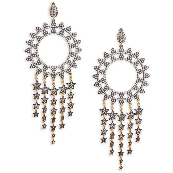 Azaara Pavé Crystal and 22K Yellow Gold Sterling Silver Chandelier...