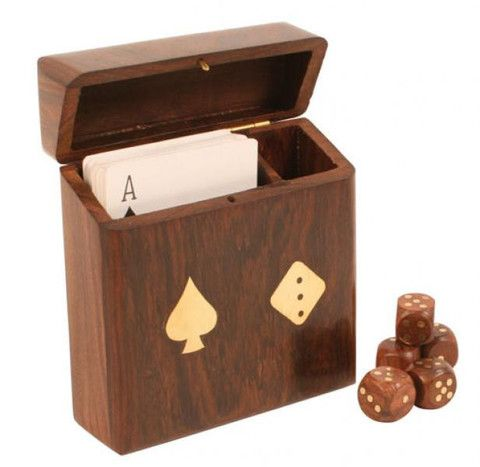 Hinged wooden card and dice box with inlaid brass spade and die emblems on front. Includes 1 standard pack of cards and 5 wooden dice with inlaid brass numbering and curved edges. £11.99 from Holly House Gifts at the Enterprise Shopping Centre, http://www.enterprise-centre.org/shop/holly-house-gifts