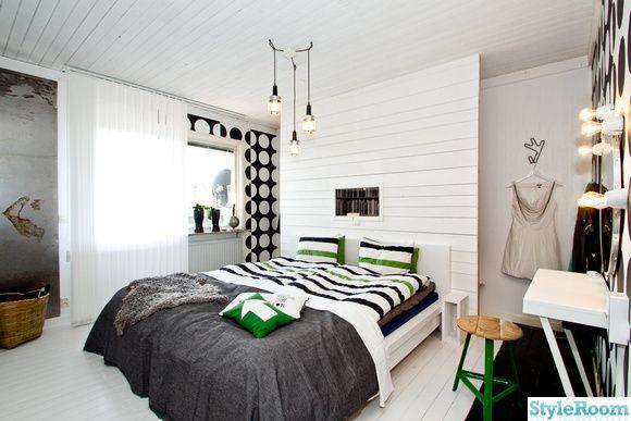 sovrum,renovering,svart,vitt,säng