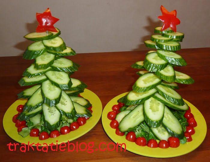 Komkommerkerstboom, leuk voor kerstdiner op school.