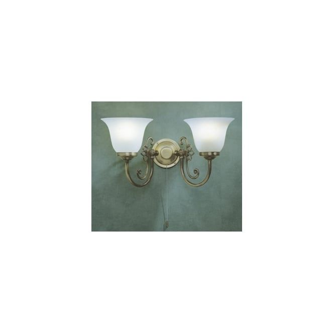 WOO0985 Woodstock 2 Light Switched Traditional Wall Light Antique Brass Finish Complete With Scavo Glass Shades