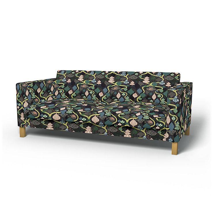 Karlstad, Housses de canapé, 3 places, Regular Fit utiliser le tissu Saga Forest Black/Multi