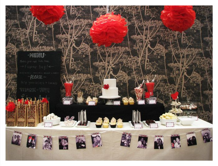 red, black and white dessert table