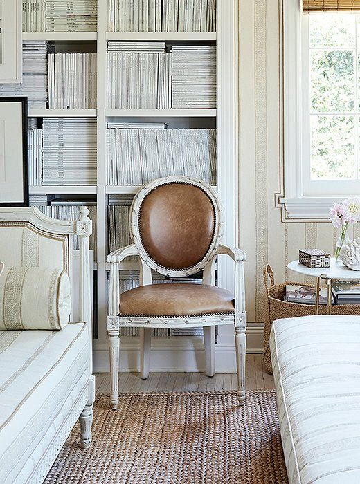 Leather upholstery and a crisp white finish add a modern touch to a round-back L…   – Upholstery Cushions