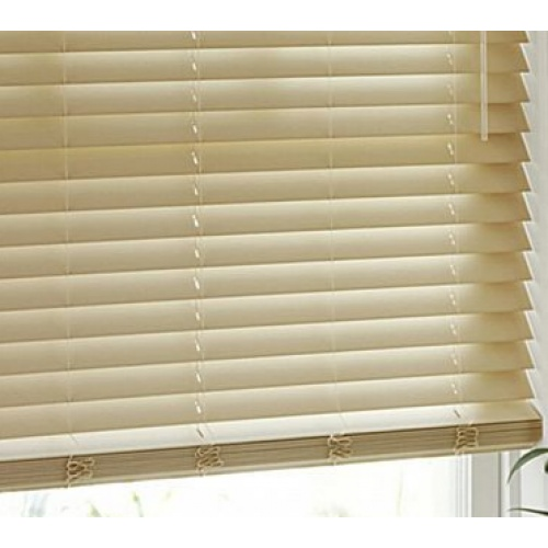 Cream Colored Faux Wood Blinds Custom Valance Above
