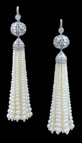 Platinum Rose  Full Cut Diamond  Pearl Tassle Earrings#Repin By:Pinterest++ for iPad#