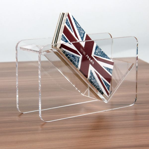 fashion Acrylic Display Stand Plastic Desktop Business Card Holder Desk shelf Box Two layersCard Holder Card Case  Storage Box
