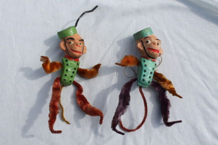 2 Antique Vintage Monkey Pipe Cleaner Ornaments Early 1900s Germany   eBay
