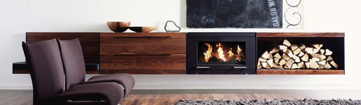 Ethanol & Walnut fireplace wall unit