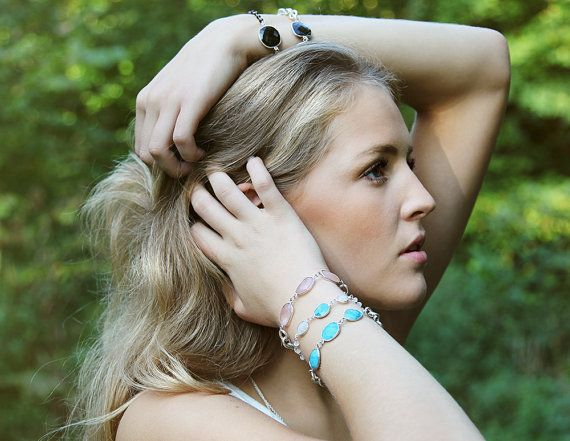 Turquoise and sterling silver plated chain bracelet