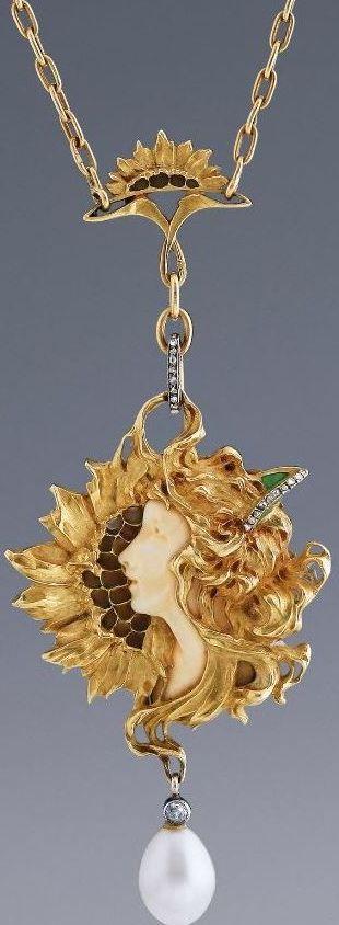 Leopold Gautrait - Art Nouveau Sunflower Pendant - 18 carat gold, ivory, plique- à-jour enamel, diamonds and a teardrop pearl. Date: Circa 1900. Made in: Paris.