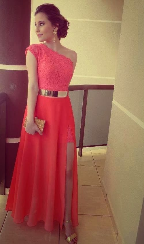 Buy 2015 Sexy A-line One-Shoulder Slit Chiffon Belt Prom Dress CHPD-7336 Long Prom Dresses under US$ 134.99 only in SimpleDress.