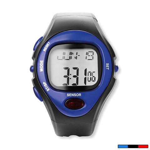Reloj deportivo digital con alarma, cronómetro, pulsómetro y cuenta calorías. Disponible en azul, negro y rojo. Desde 11,85 € en www.areadifusion.com